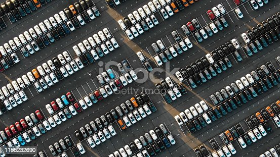 istock Aerial view of the parked new cars at the automotive plant 1158232690