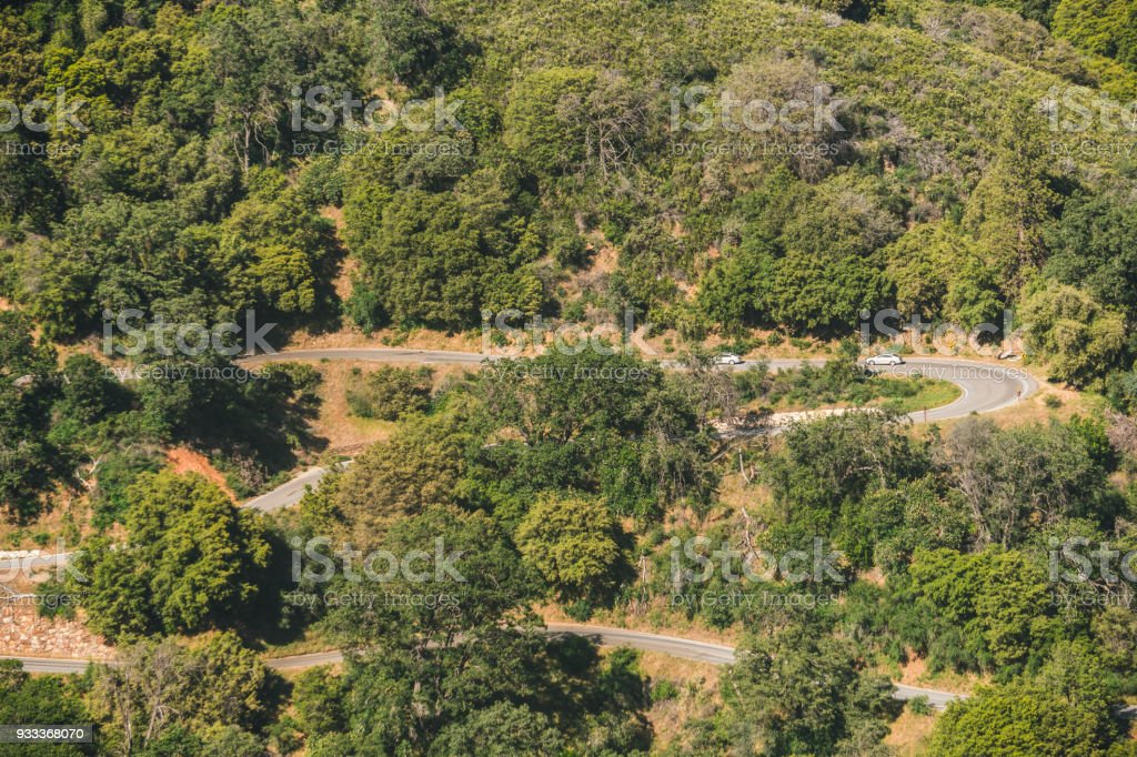 Aerial view of the picturesque green forest and winding road in Sequoia National Park, California, USA stock photo