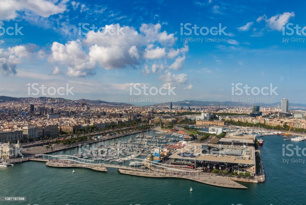 Aerial View Of The Port And City In Barcelona Spain Stock Photo Download Image Now Istock