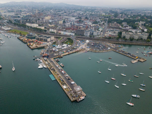 Aerial view of the port of Dun Laoghaire, Dublin, Ireland. stock photo
