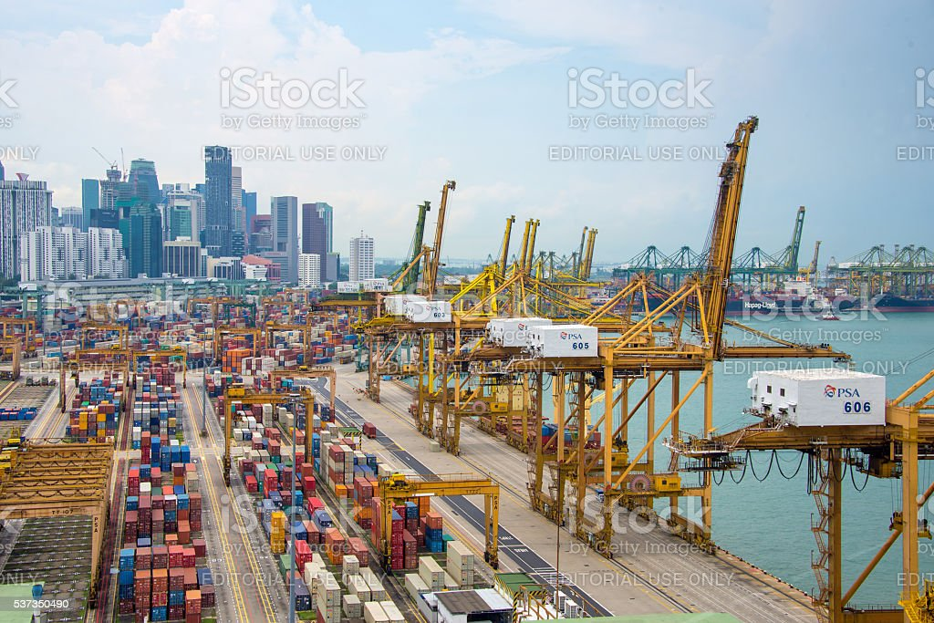 Aerial view of the port of Singapore stock photo