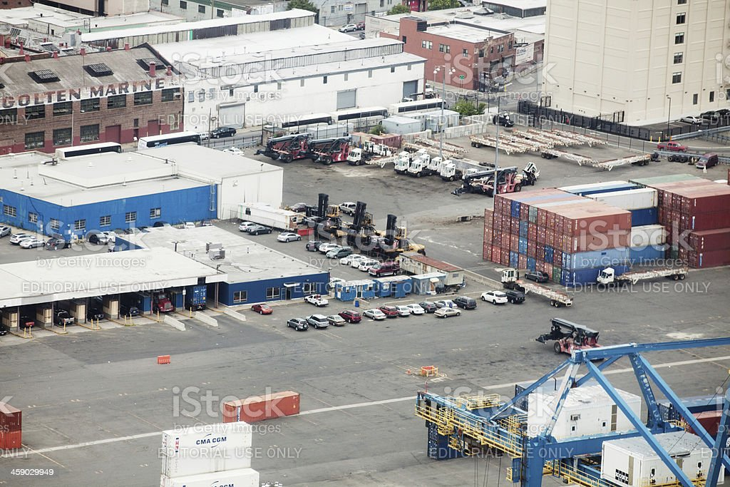 Aerial view of the Ports America Inc. stock photo