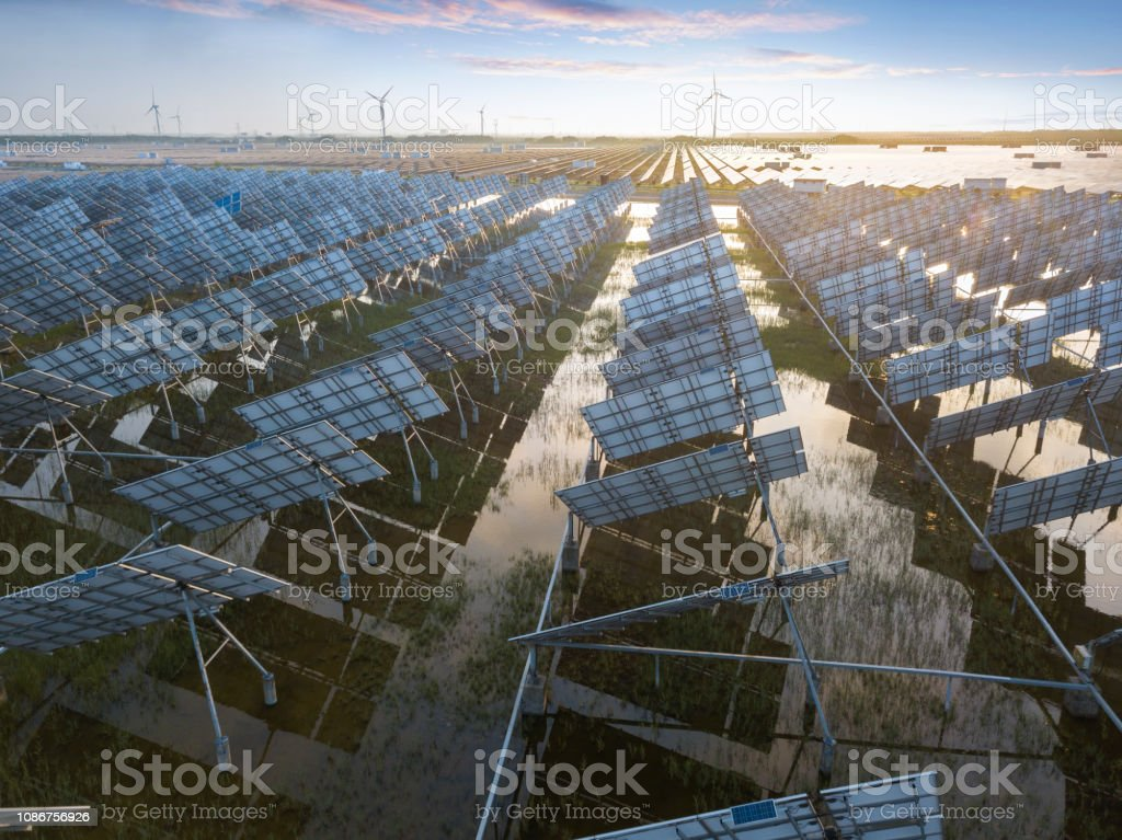 Aerial view of the Power plant using renewable solar energy stock photo