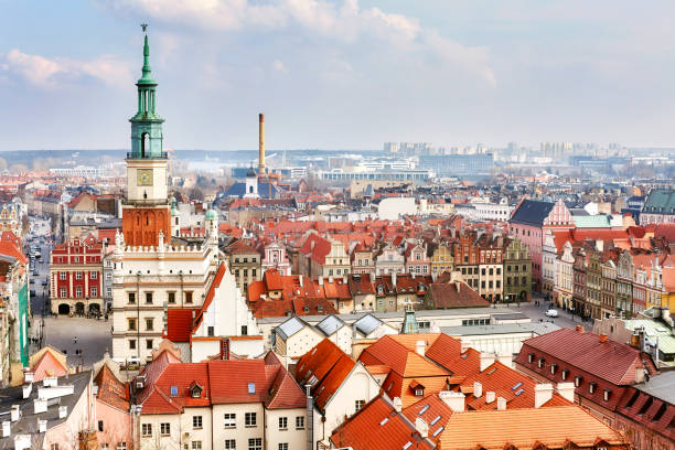 aerial view of the poznan old town, poland - poland stock photos and pictures