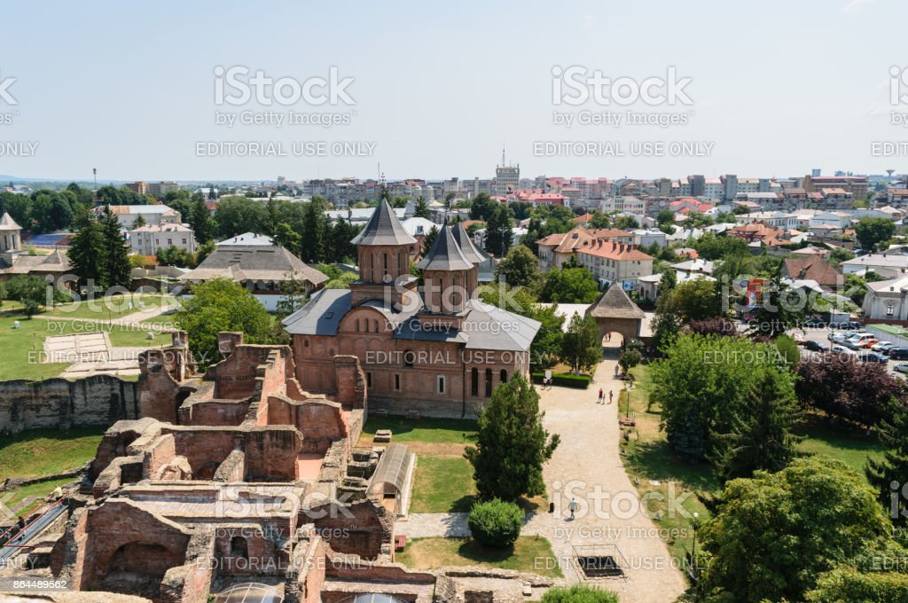 Aerial view of the Princely Court showing St. Friday Church in Targoviste, Dambovita, Romania. stock photo