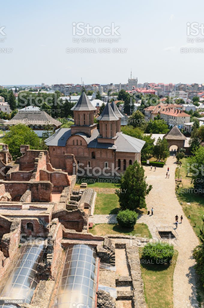 Aerial view of the Princely Court showing St. Friday Church in Targoviste, Dambovita, Romania - vertical stock photo