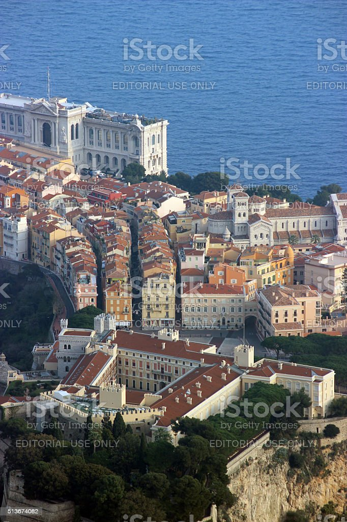 Aerial View of the Prince's Palace and the Oceanographic Museum stock photo