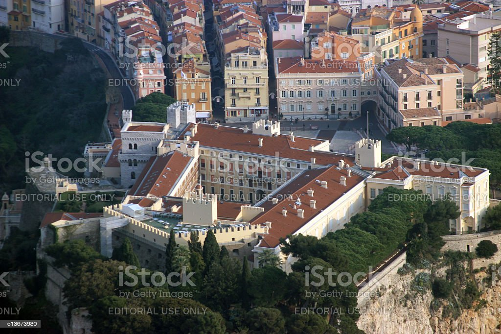 Aerial View of The Prince's Palace in Monaco stock photo