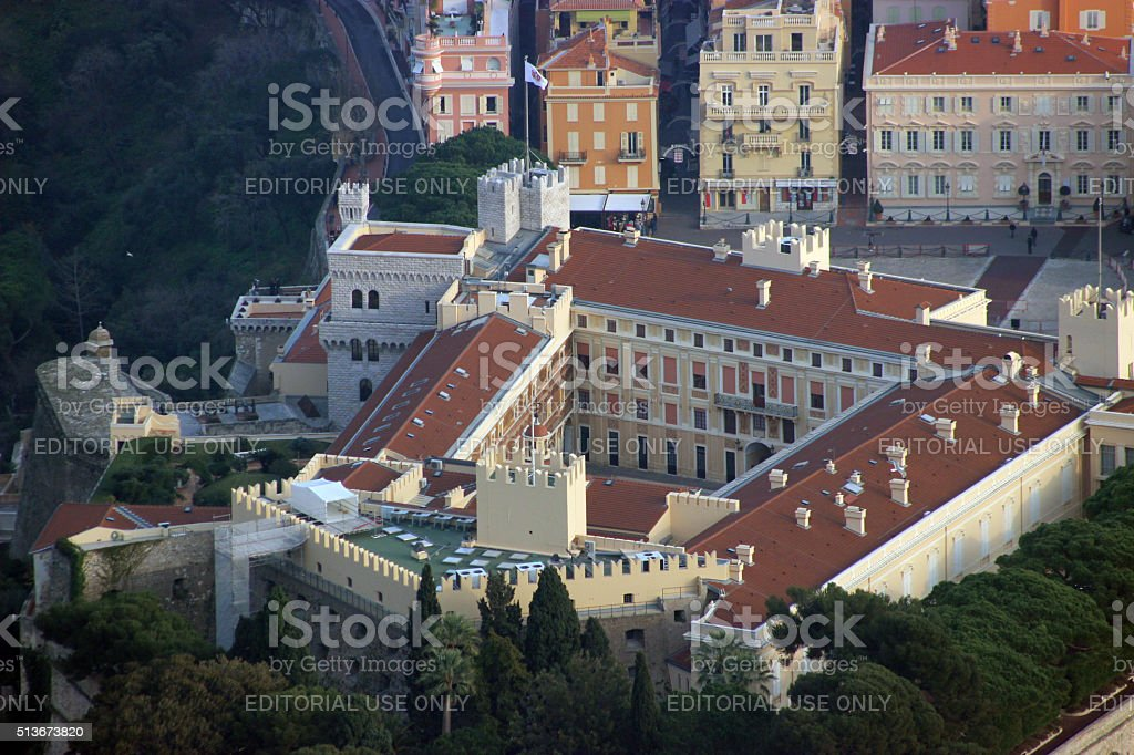 Aerial View (close-up) of the Prince's Palace, Monaco stock photo