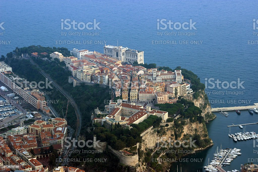 Aerial View of the Prince's Palace, Monaco stock photo