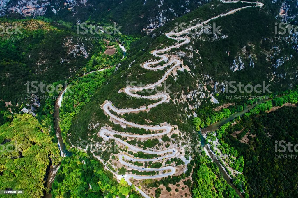 Aerial view of the provincial with many zigzag road in the Epirus Zagorohoria, Greece stock photo
