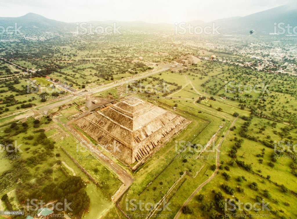 Aerial view of the Pyramids of the Sun and Moon stock photo