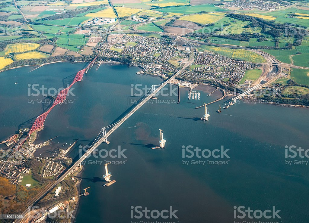 Aerial view of the Queensferry Crossing during construction stock photo