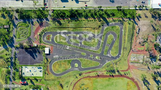 Aerial view of the park's race track and lake