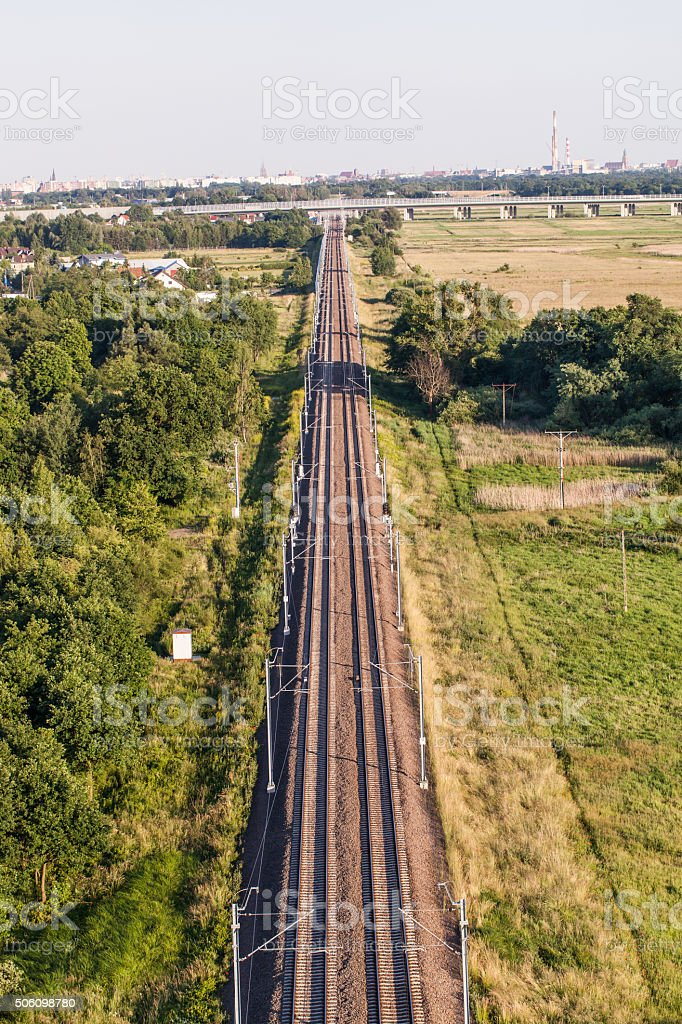 aerial view of  the railway stock photo