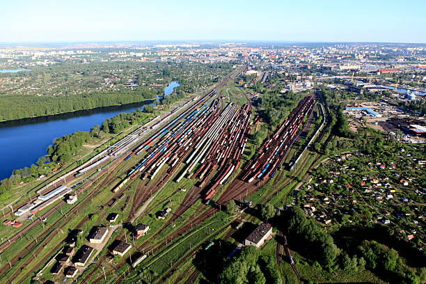 Aerial view of the railway station stock photo