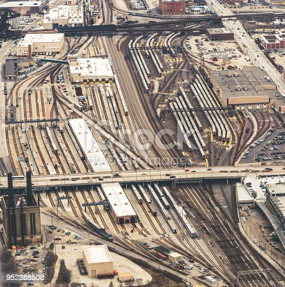 Aerial view of the railway station terminal / Chicago, US