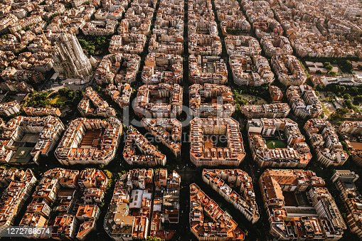 istock Aerial view of the residential Eixample district of Barcelona, with the Sagrada Familia, Designed by Catalan architect Antoni Gaudi 1272766574