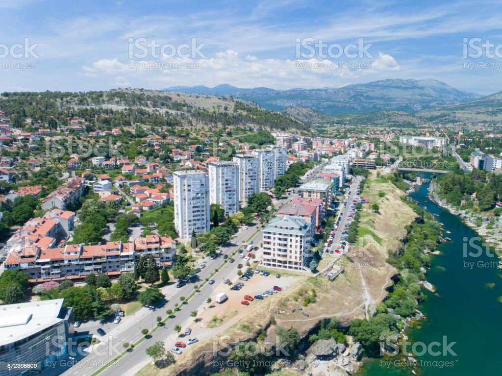 aerial view of the residential part of the Podgorica city on sunny summer day stock photo