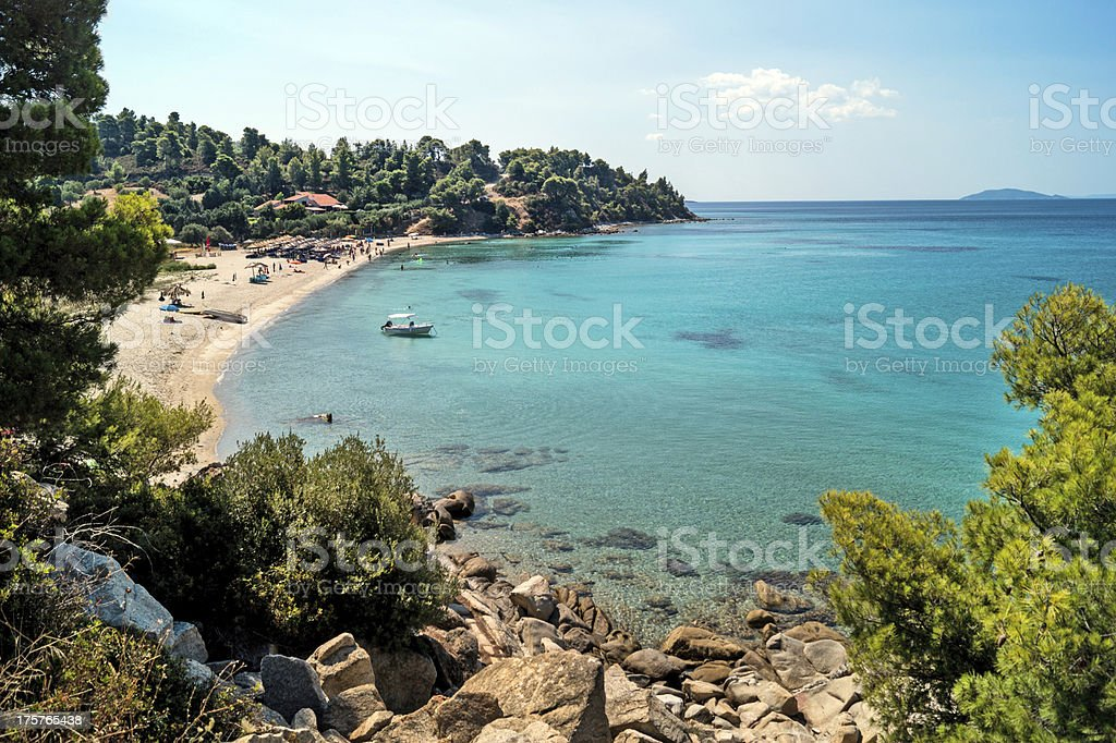 Aerial view of the resort of Halkidiki peninsula in Greece stock photo