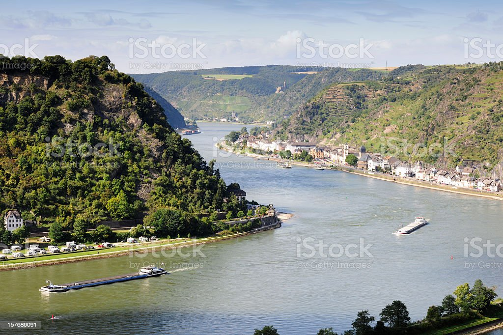 Aerial view of the Rhine River taken from St Goarshausen stock photo