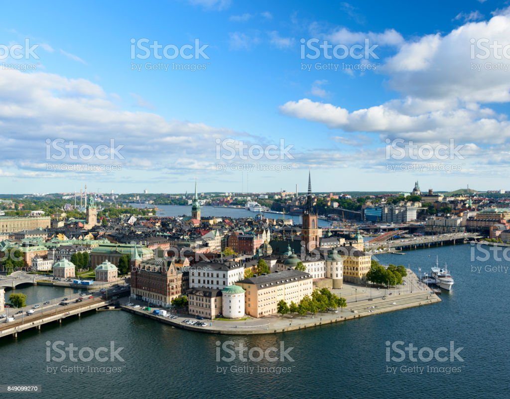 Aerial View of the Riddarholmen and Gamla Stan City Skyline in Stockholm, Sweden stock photo