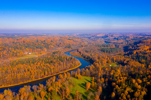 Aerial view of the river Gauja in Latvia