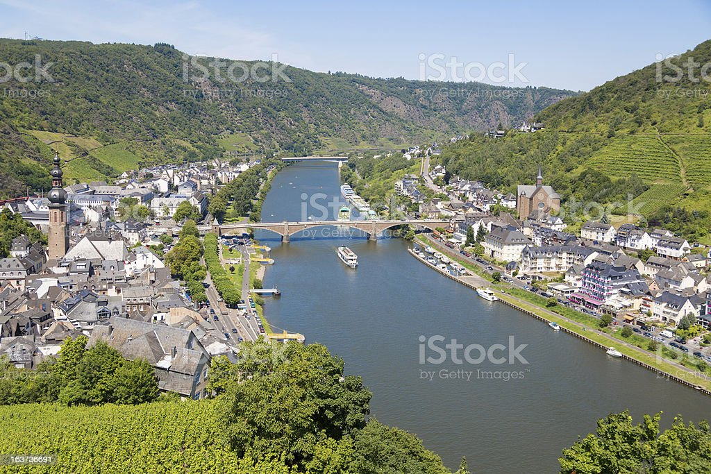 Aerial view of the River Moselle and town of Cochem, Germany stock photo
