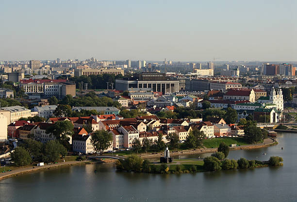 Aerial view of the riverside of Minsk, Belarus stock photo