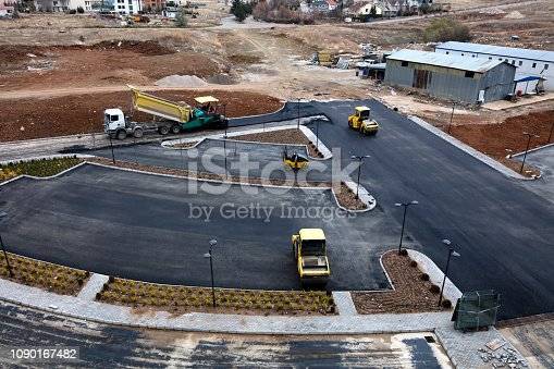 Aerial view of the road construction