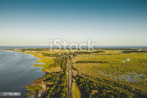 Aerial view of the road connecting Savannah and Tybee Island.