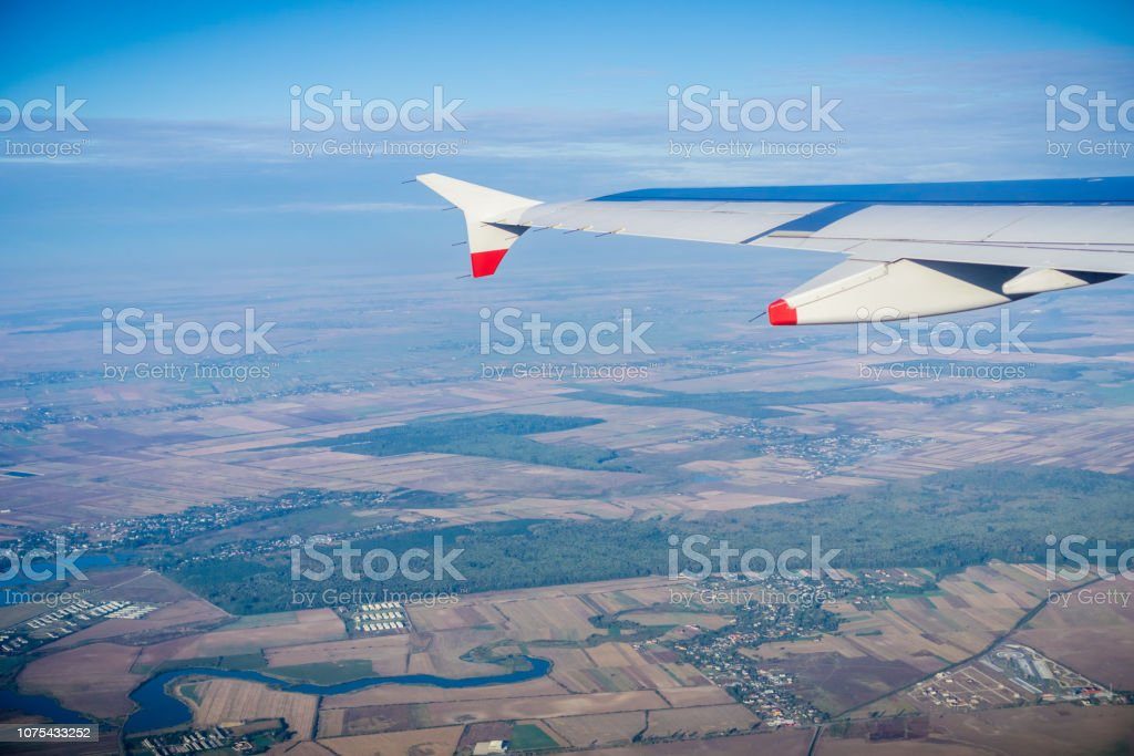 Aerial view of the Romanian countryside stock photo