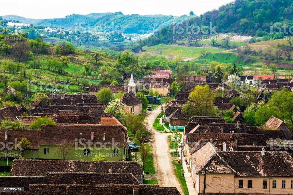 Aerial view of the Romanian village of Copsa Mare, Transylvania, Romania royalty-free stock photo