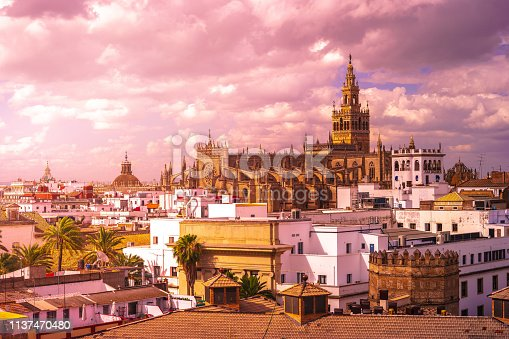 Aerial view of the roofs and the cathedral of Seville, Andalusia, Spain. Beautiful sunset in