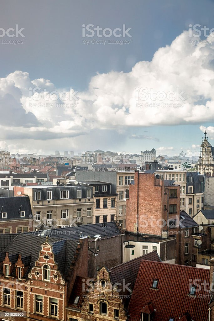 Aerial view of the roofs of Brussels under the rain stock photo
