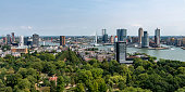 Rotterdam, Netherlands -August 4, 2018; aerial view on the city of Rotterdam seen from the Euromast tower