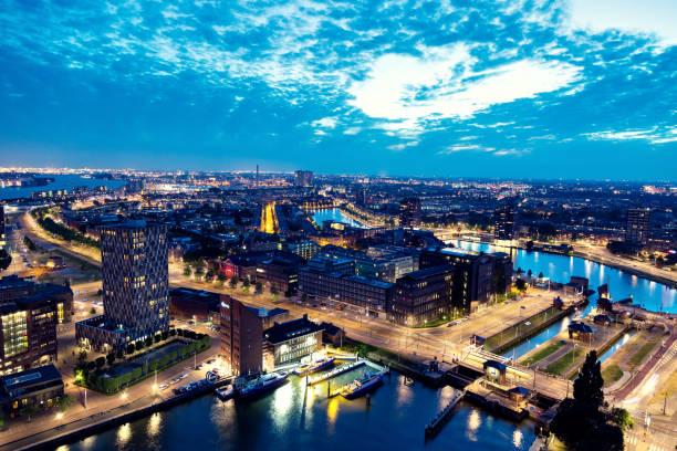 Luchtfoto van de skyline van Rotterdam foto