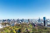 Rotterdam skyline with a clear blue sky