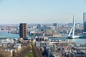 Rotterdam skyline with a clear blue sky with the Erasmus bridge.