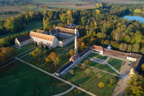 Aerial view of the Royaumont Abbey Asnières-sur-Oise,  France - October 15 2017: Royaumont Abbey is a former Cistercian abbey built between 1228 and 1235 with the support of Louis IX. It is located in Val-d'Oise, approximately 30 km north of Paris. In the middle stands the ruin of the turret with a spiral staircase which marked the northeastern extremity of the transept. val d'oise stock pictures, royalty-free photos & images