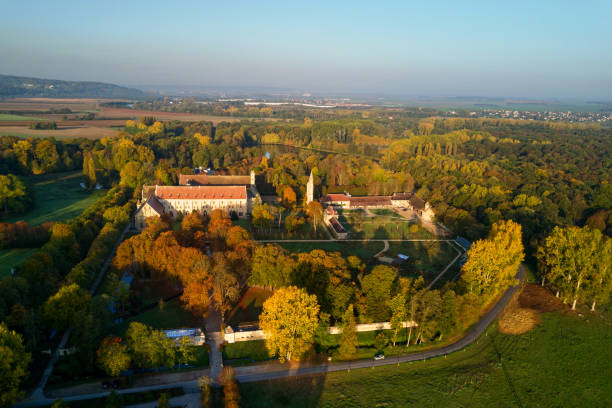 Aerial view of the Royaumont Abbey Asnières-sur-Oise,  France - October 15 2017: Royaumont Abbey is a former Cistercian abbey built between 1228 and 1235 with the support of Louis IX. It is located in Val-d'Oise, approximately 30 km north of Paris. val d'oise stock pictures, royalty-free photos & images