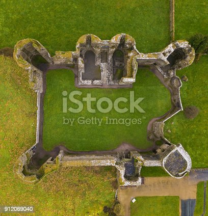 istock Aerial view of the ruins of a castle 912069040