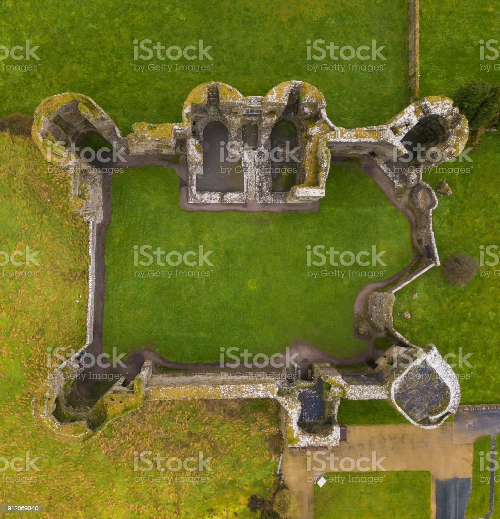 Aerial view of the ruins of a castle stock photo