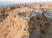 Aerial view of the ruins of Massada is a fortress built by Herod the Great on a cliff-top off the coast of the Dead Sea. Destroyed by the Romans in the 1st century AD e. Included in the UNESCO World Heritage List