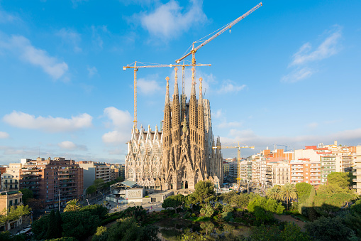 Aerial view of the Sagrada Familia, a large Roman Catholic church in Barcelona, Spain, designed by Catalan architect Antoni Gaudi.