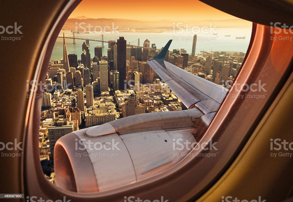 Aerial view of the San Francisco skyline stock photo