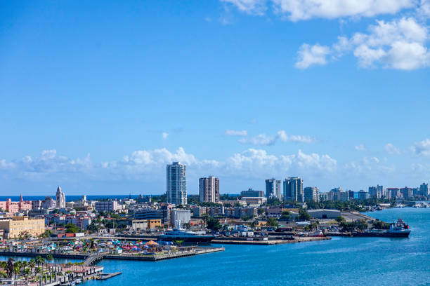 Aerial View of the San Juan Puerto Rico Harbor and Skyline