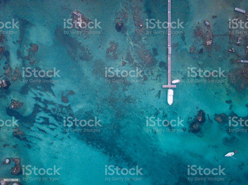 Aerial view of the Sardinian Emerald Coast, with its turquoise sea. Costa Smeralda in Sardinia Island, is one of the most beautiful and famous coasts in the world stock photo