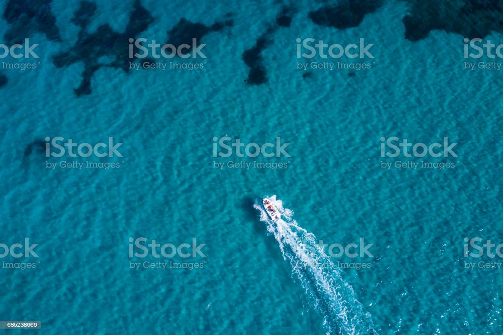 Aerial view of the Sardinian Emerald Coast, with its turquoise sea. Costa Smeralda in Sardinia Island, is one of the most beautiful and famous coasts in the world royalty-free stock photo