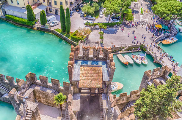 Aerial view of the Scaliger Castle, Sirmione, Italy - foto stock
